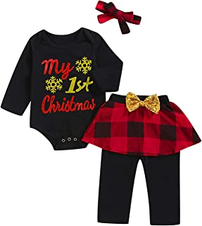 My First Christmas Outfit Baby Girls Xmas Plaid Pant Clothing Sets