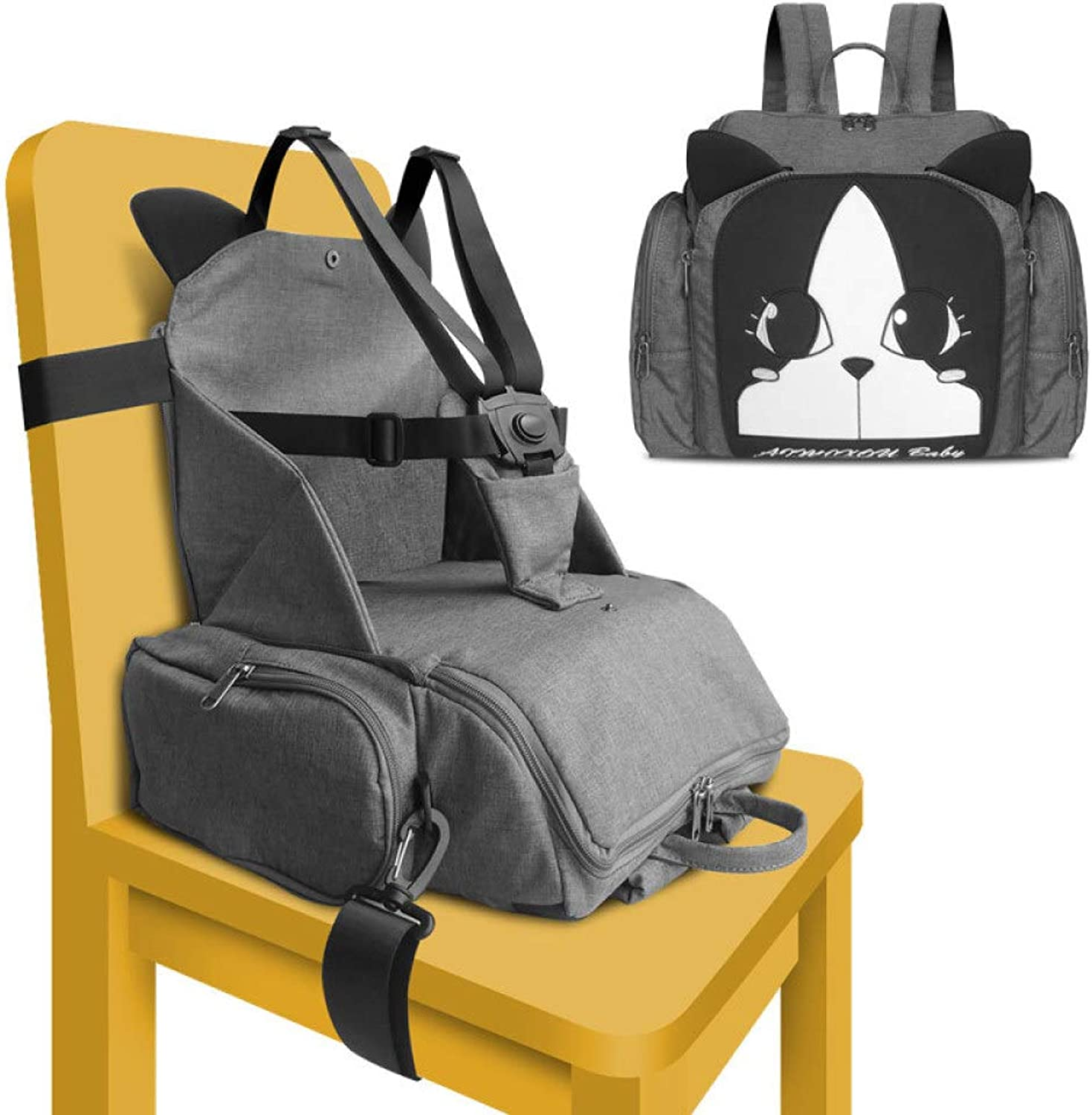 Baby Booster Seat, RUMIAO Portable Foldable Harness Baby Toddler Infant Dining Chair On The Go Travel Storage Chair,Grey
