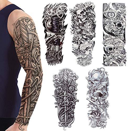 Full Arm temporäre Tattoos, Camelize Tattoo Körperkunst,extra temporär Tätowierung,Klebe Tattoo Sticker,Fake Arm Tattoos Aufkleber für männer Frauen (5 Blätter)