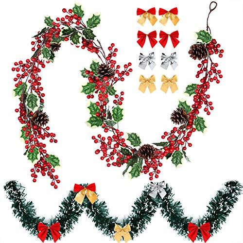 KUUQA 6 pies Red Berry Navidad de la Guirnalda de 6 pies de Pino de Navidad Garland con Arcos 12pzas Navidad, Artificial de la Guirnalda de la Baya con Cono de Pino para Navidad Chimenea Decoración