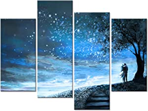 Welmeco Abstract Blue Canvas Wall Art Romance Lovers Under Fancy Starry Night Digital Painting Prints Amazing Sky Scenery Pictures for Modern Home Bedroom Guest Room Decoration Ready to Hang