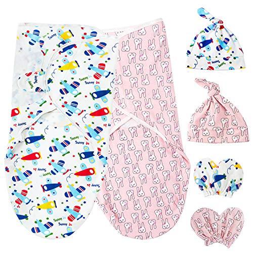 HBselect 2 Set Pucktuch Baby Pucksack Mutze Handschuhe Set 100% Baumwolle für Baby Neugeborene für bis 6 Monate (Flugzeug&Häschen)