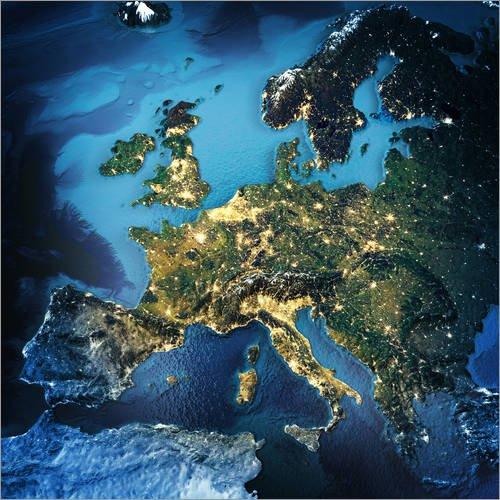 Posterlounge Leinwandbild 60 x 60 cm: Europa aus dem All, NASA 3D-Rendering von Editors Choice - fertiges Wandbild, Bild auf Keilrahmen, Fertigbild auf echter Leinwand, Leinwanddruck