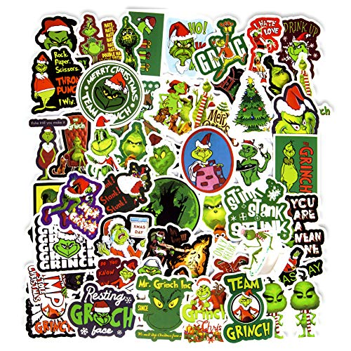 50pcs Grinch Stickers, Vinyl Christmas Stickers for Teens Waterproof Skateboard Stickers for Laptop, Water Bottle, Luggage, Bicycle Decals (How The Grinch Stole Christmas)