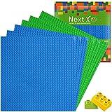 NextX 6 Stück Platten - Bauplatte Set für Classic Bausteine mit Meisten Marken Grundplatte 25 x 25 cm Grundplatte 3 blau+3Grün