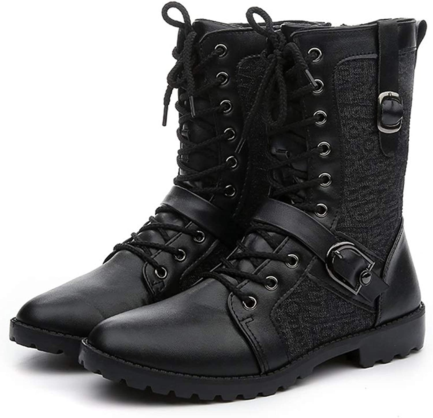 ZHRUI Mens High Boots Soft Sole Durable Non Slip Breathable Casual Comfort Boots (color   Black, Size   UK 7.5)