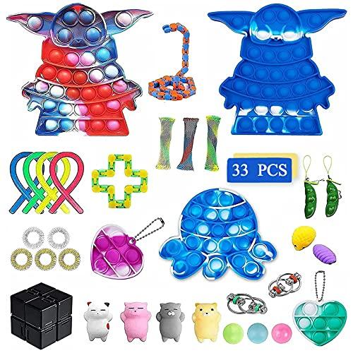 ZNNCO Fidget Packs, Fidget-Spielzeug für Stress und Angstlinderung bei ADHS und Autismus, Stress-Spielzeug, Fidget-Spielzeug-Set für Kinder und Erwachsene, 33 Stück