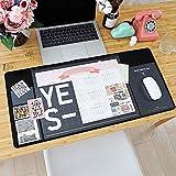Desk Pad Large Desk Mouse Pad, Aisakoc 27.6 x 13 Inch Anti-Slip Multifunction Office Desk Writing Mat Waterproof Desk Protector Mat with 2019-2020 Calendar, Pockets and Dividing Ruler (Black)