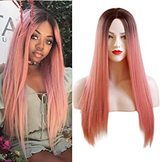 26 inches Women's Silky Long Straight Pastel Pink Wigs with Heat Resistant Synthetic Ombre Pink Wig with Dark Brown Roots Wigs for Women Cosplay Halloween Non-Lace Wig