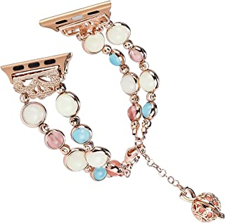 Tomazon Compatible Apple Watch Band 42mm 44mm Series 4/3/2/1, Unique Handmade Luminous Pearl iWatch Bracelet Link Adjustable Clasp Wristband with Perfume Storage Pendant for Women Girl - Rose Gold