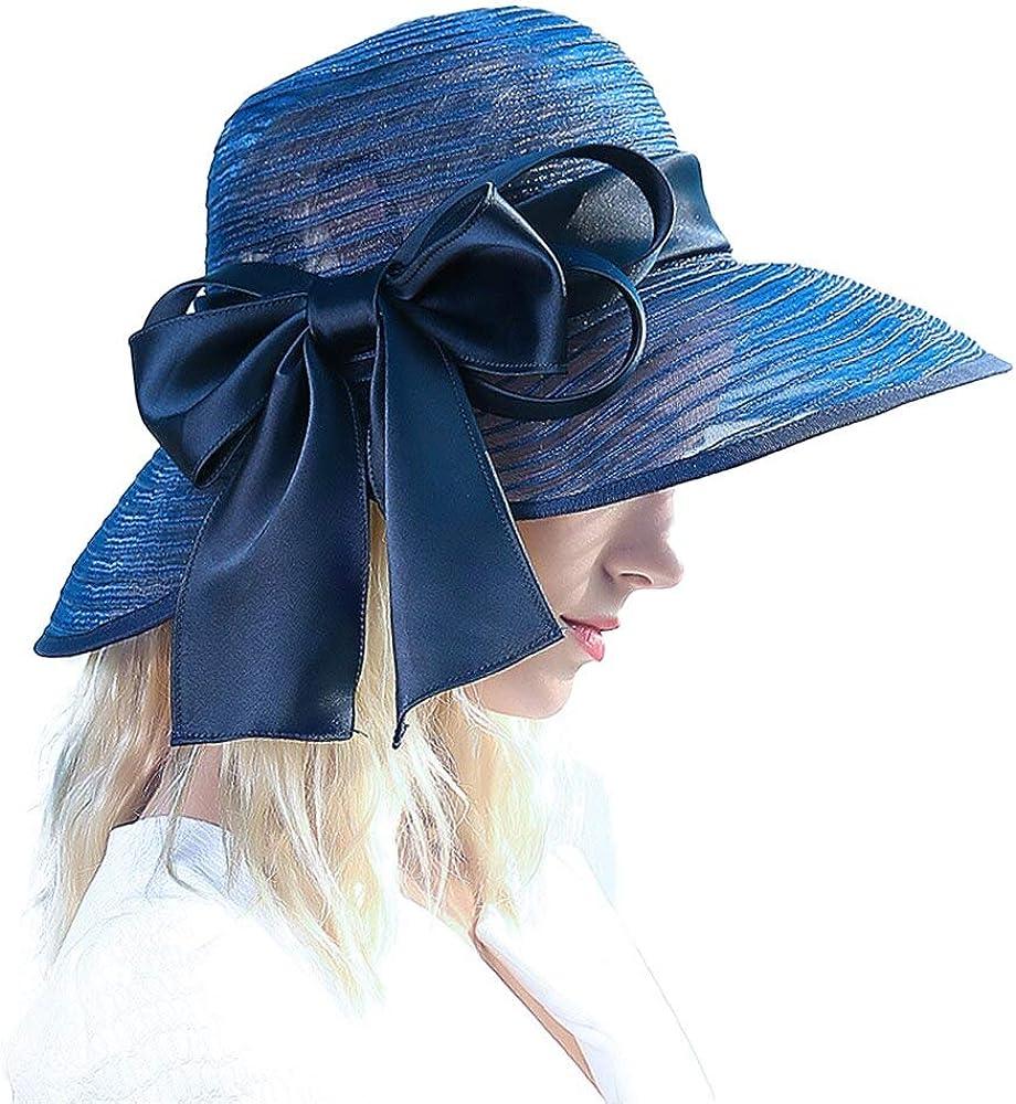F FADVES Fascinators for Women Formal Hats Wide Brim Ribbon Bowknot Kentucky Derby Church Wedding Hat