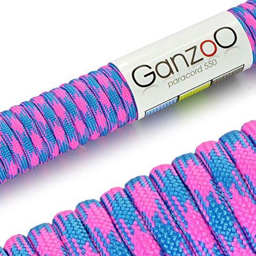 Ganzoo Paracord 550 Corde pour Bracelet Laisse Collier Nylon Corde 30 Mètres Multicolore