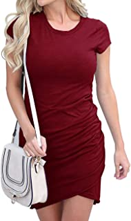 97f7ab6a833 BTFBM Women s 2019 Casual Crew Neck Ruched Stretchy Bodycon T Shirt Short  Mini Dress