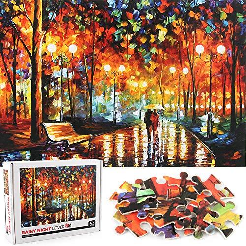 ENYACOS Puzzle 1000 Teile Rainy Night Lover,Ölgemälde Jigsaw Puzzle Puzzles für Erwachsene,Jigsaw Puzzle,Geschenke für Freunde. (A1)