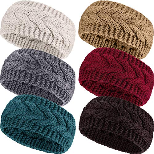 6 Pieces Winter Headbands Women s Cable Knitted Headbands Winter Chunky Ear Warmers Suitable for Daily Wear and Sport 21 x 11 cm Red Camel Medium Gray Turquoise Beige Brown