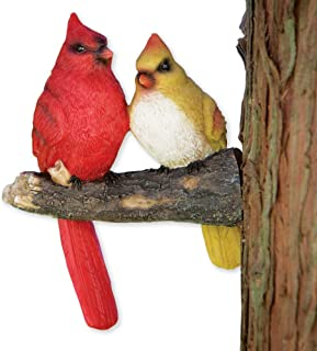 Bits and Pieces - Pair of Cardinals Tree Hugger - Animal and Bird Tree Sculpture Outdoor Décor Garden Statue