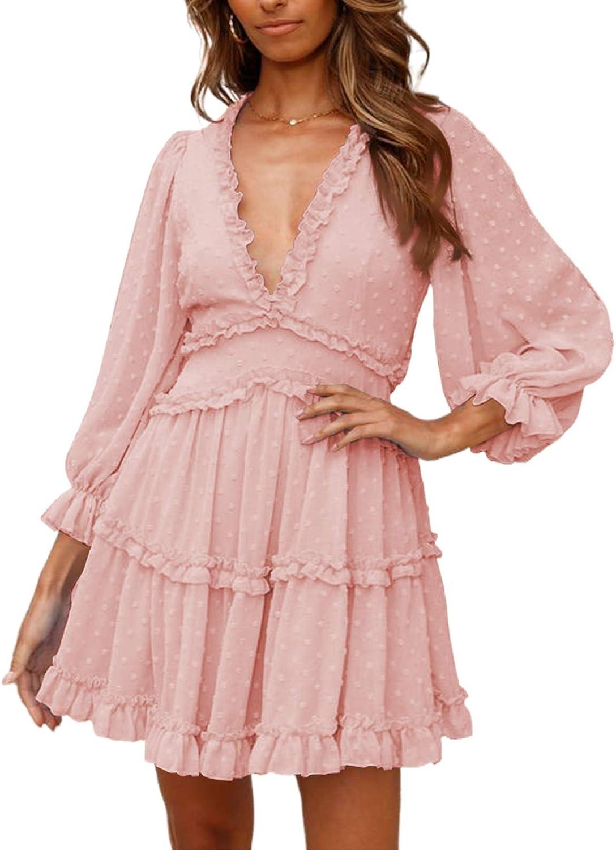Asvivid Womens Summer Sunshine Colorblock Ruffle Flutter Sleeveless Loose Fit Short Flowy Pleated Mini Dress