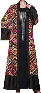 فستان Robe Geometric Pattern Printing Long Large Sleeve Loose Dress Gown For Women Lady - Size 5XL