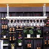 zshRack Estante del Vino, Estante de la cristalería, Estante Colgante del Vino, Estante del cubilete Colgante, Tenedor Creativo de la Copa de Vino (Blanco) botelleros (Size : L150*35CM)