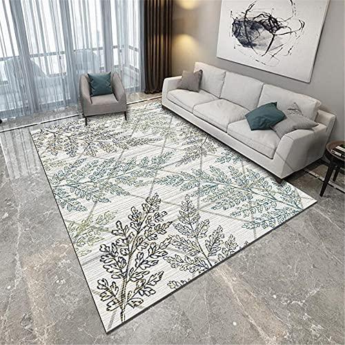 Kunsen Teppich groß Wohnzimmer Balkon Carpet Grau Schmutzige Pflanzendruck Rechteckige Moderne terrassenteppich Sofa Set Wohnzimmer 160X230CM 5ft 3' X7ft 6.6'