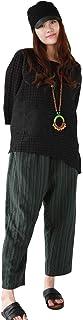 Jiqiuguer Boho Pants Striped Linen Pants Women's Cotton Capri Pants with Pockets