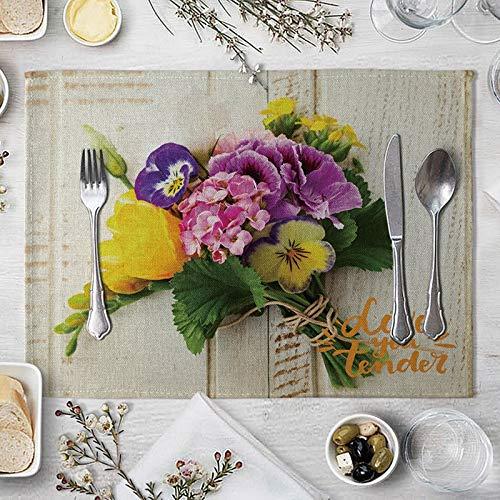 AMDXD Manteles Individuales para Mesa de Comedor de 4 Sillas, Ramo de Flores Manteles Individuales Cocina, Algodon Lino, 42x32cm, Amarillo Púrpura Verde