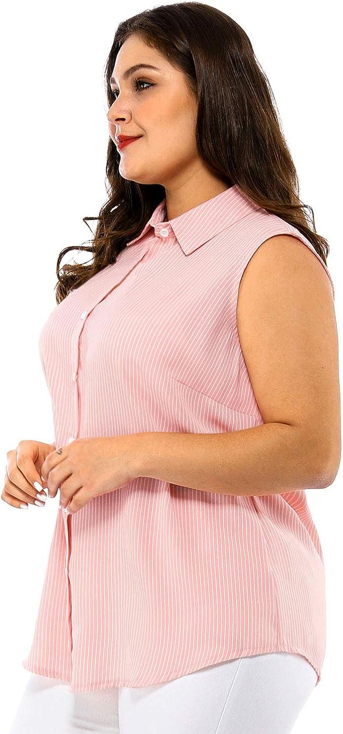 Agnes Orinda Women's Plus Size Sleeveless Shirts Office Button Down Tank Top