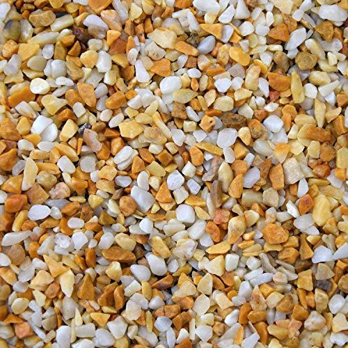 BTT-ST Steinteppich aus Marmorkies Giallo Siena und Epoxidharz Bindemittel für 7,2m² Marmorstein Marmorkiesel Steinboden Bodenbeschichtung