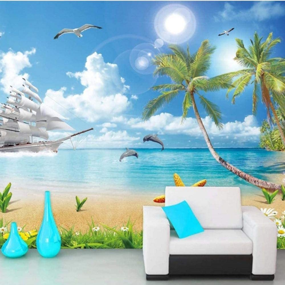 Seascape Beach Coconut Don't miss the campaign Tree 3D Self-A Wallpaper Ranking TOP5 Photo Waterproof