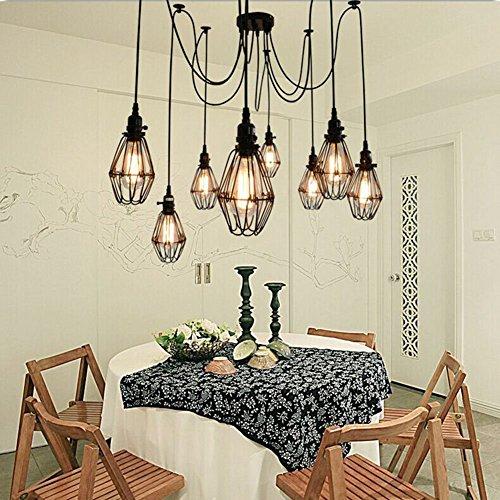 Lampe de plafond vintage, Éclairage suspendu Edison Multiple Adjustable DIY Plafonnier Spider Light Metal Wire Cage Pendentif Lustre Chandelier Modern Chic Industrial Dining Light (6 têtes)