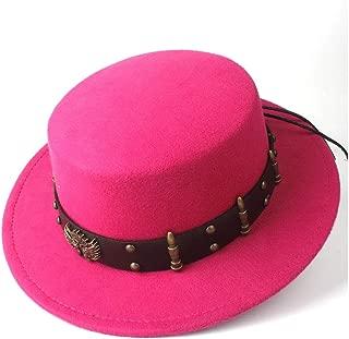 2019 Mens Womens Hats Unisex 2019 Men Women Flat Top Hat Casual Steampunk Belt Dad Church Hat Wide Brim Jazz Hat Fascinator Hat Bowler Outdoor Travel (Color : Rose red, Size : 56-58)