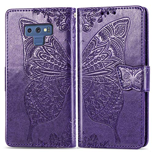 Oihxse Compatible with Galaxy A20E/A10E Case, Leather Flip Wallet Cover with Chic Emboss Pattern, Slim Stand View Magnetic Buckle [Cash Credit Card Slots Holders] Folio Protective Skin-Purple