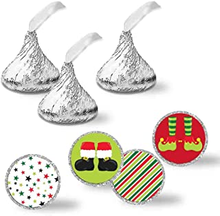 """Eat Drink & Be Merry Santa Elf Feet Christmas Holiday Party Kiss Sticker Labels, 300 Party Circle Sticker sized 0.75"""" for Chocolate Drop Kisses by AmandaCreation, Great for Party Favors, Envelope Seals & Goodie Bags"""