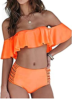 Dellytop Womens Off The Shoulder Swimsuits Ruffle High Waisted Bikini Sets Two Piece Bathing Suits