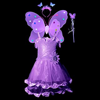 4pcs Fairy Costume For Girls,Princess Dress Up With Fairy Wings Butterfly Flower Headband Fairy Dress Fairy Wand,Butterfly...