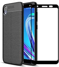 Best Share for Asus ZenFone Live L1 (ZA550KL) Case, Slim Fit Leather Texture Flexible Soft TPU Back Anti Slip Cover Case + Tempered Glass Screen Protector, Black