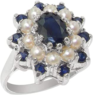 925 Sterling Silver Real Genuine Sapphire and Cultured Pearl Womens Band Ring