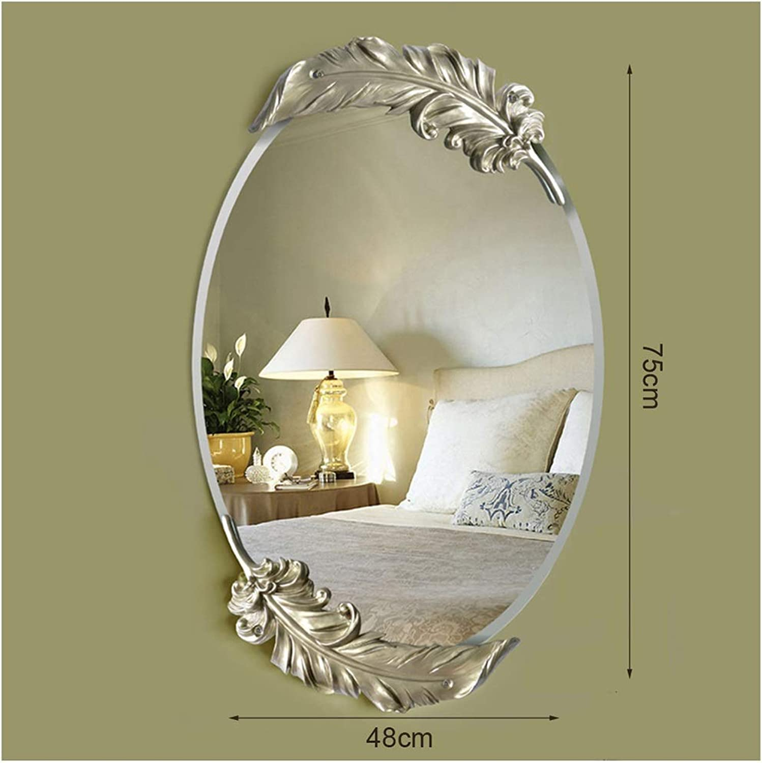 YYF Frameless Elliptical Mirror European Feather Dressing Wall Hanging Bathroom Living Room 65cm41cm (26 inches  16 inches) (color   Champagne, Size   41cmX65cm)