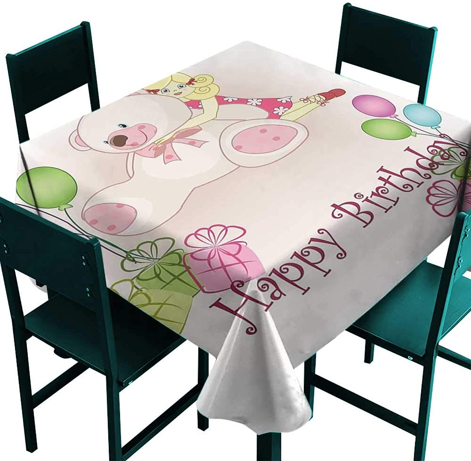 Warm Family Kids Birthday Elegance Engineered Tablecloth Baby Girl Birthday with Teddy Bears Toys Balloons Surprise Boxes Dolls Image Indoor Outdoor Camping Picnic W70 x L70