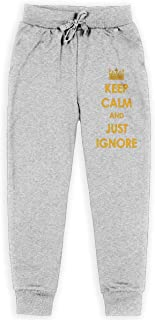 Yuanmeiju Keep Calm and Just Ignore Boys Pantalones Deportivos,Pantalones Deportivos for Teens Boys Girls