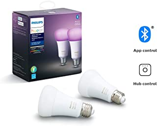 Philips Hue White and Color Ambiance 2-Pack A19 LED Smart Bulb, Bluetooth & Zigbee compatible (Hue Hub Optional), voice activated with Alexa (Renewed)