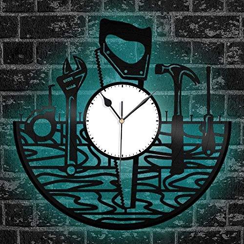 ZYBBYW Disco de Vinilo Reloj de Pared Herramienta Creativa decoración Reloj de Cuarzo decoración del hogar Trabajador reparación con luz
