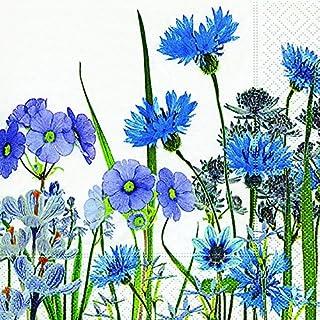 20 servetten blauwe bloemenweide / bloemen/korenbloem/tuin 33x33cm