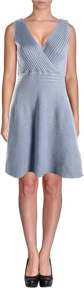 INC Womens Ribbed Knit Surplice Sweaterdress Blue XL