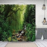 シャワーカーテンネパールの小道の森野生生物春の植物と石の水分水プリント 防水 目隠し 速乾 高級 ポリエステル生地 遮像 浴室 バスカーテン お風呂カーテン 間仕切りリング付のシャワーカーテン 180 x 180cm