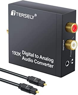 T Tersely DAC Digital to Analog Converter 192KHz SPDIF Toslink to Analog Stereo RCA 3.5mm Audio L/R Converter Adapter with...