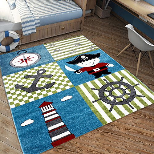 Unbekannt Kinderteppich Kinderzimmer Pirat Pirate Anker Kids Carpet 3 Größen TOP Preis, Größe:120x170 cm, Farbe:Multi