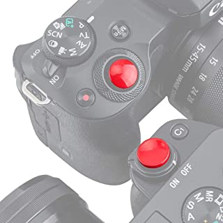 PROfezzion Botón de Liberación de Tipo No-roscado para Cámara Sony A6500 A6400 A6300 A6000 RX100 Serie con Plano Botón de Obturador (Convexa y Cóncava Kit Rojo Brillante)