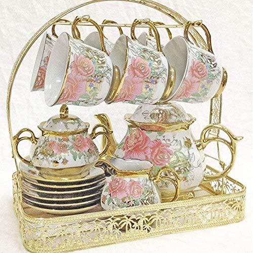 Juego de té Kung Fu portátil Simple Europeo Patrón de Rosa por la tarde té Bebidas Set de café Glaze Porcelana Café y té Set de taza de té regalo