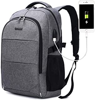 Laptop Backpack,AUGUR Slim Business Travel Backpacks For Men Women College Backpack Water Resistant Bookbag With USB Charging Port Fit 15.6 Computer And Notebook (Grey)